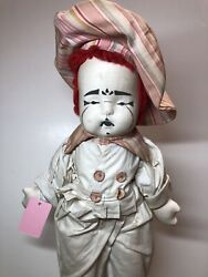 18andrdquo Vintage Antique 1940andrsquos Pierrot Clown Mime Cloth Doll Adorable Sf5