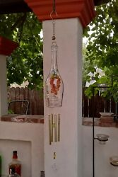 Wine Bottle Wind Chime Glass Grapes