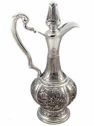 Fine Large Italian 925 Sterling Silver Handmade Chased Flower Decanter And Handle