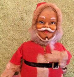 Antique Wind Up Santa Claus Bell Ringer Figure Japan Rare 1960's Tested Toys