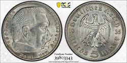 Rare Old Wwii German War Silver Coin 1935-g Germany 5 Mark Pcgs Au58 Hindenburg