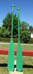 Great Pair Wooden Old Paddles 58 + 55 W/ Color Oars Boat Canoe Paddle