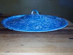 Large 12andrdquo Antique Graniteware Pot Lid Blue And White Swirl Sauce Pan Stock
