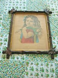 Currier Ives Little Daisy Lithograph Mahogany Wood Adirondack Frame Under Glass