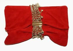 Italy Red Suede And Gold-plated Clasp And Carrying Strap Purse By Jimmy Choo Lep