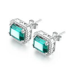Genuine Emerald 8x6mm Antique Womenand039s Gemstone Perfect Earrings 14k White Gold