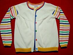 Hanna Andersson Girls Striped Sleeve Cardigan Sweater Button Size 140 10