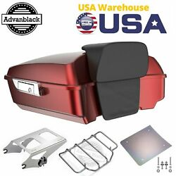Hard Candy Hot Rod Red Flake Chopped Tour Pack Trunk For 1997+ Harley Davidson