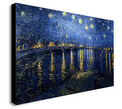Van Gogh Starry Night Over The Rhone Canvas Wall Art Framed Print Various Sizes