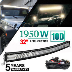 Quad Row 32inch 1960w Curved Led Work Light Bar Flood Spot Combo Driving Ute 35