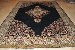 Genuine Handmade Knotted 8and039 X 12and039 Tabris Rug Dark Blue Background Floral Design