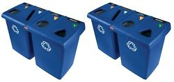New Set Of 2 Rubbermaid 4-stream Glutton Recycling Station 92 Gal Paper Plastic