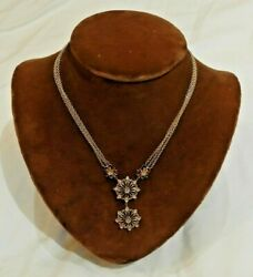 14k Yellow Gold Three Strand Chain With Diamond Embellished Pendant Necklace