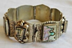 Vintage Mexican Sterling Silver And Abalone Aztec Bracelet