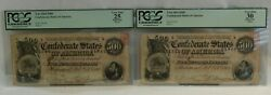 Pcgs 1864 500 Confederate States Of America Bank Notes W/ Consecutive Serial S