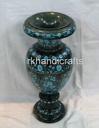 21 Inches Marble Flower Vase Home Decorative Planter With Gemstones For Office