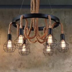 Rustic Rope Chandelier Industrial Ceiling Light Pendant Lamp Fixture Iron Cage