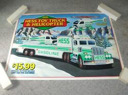 Hess Gas Station Gasoline Toy Truck Helicopter 2 Large Plastic Poster Sign 1995