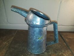 Vintage Galvanized Tin Metal Oilier Farm Tractor Oil Can - Guc