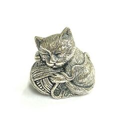 Victorian Style Miniature Cat Holding Yarn Pin Cushion 925 Sterling Sewingneedle