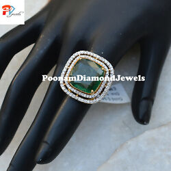 14k Yellow Gold Ring Emerald Solitaire Ring Pave Diamond Ring Anniversary Gift