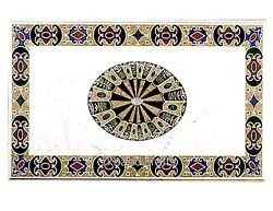 White Marble Dinning Table Top Marquetry Art Sofa Table With Gemstone Inlay Work