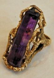 Mid-century Modern Free Flow 14k Yellow Gold And Amethyst Over-sized Ring Size 7