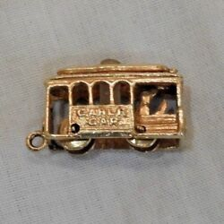 Antique 14k Yellow Gold Articulated Cable Car Or Trolley Charm