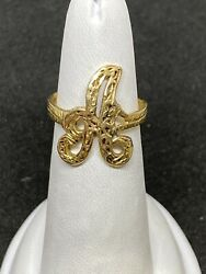 14k Yellow Gold Textured Letter A Ring Size 6