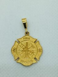 14k Solid Gold Fire Dept. Rescue Charm