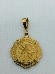 14k Solid Gold New York Fire Dept. Rescue Charm