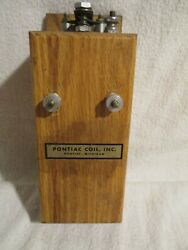 Vintage Pontiac Coil Co Dovetailed Wooden Box Buzz Ignition
