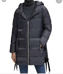 Marc New York Andrew Marc Side Lace-up Puffer Coat Size Medium Black