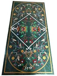 Green Marble Coffee Table Top Marquetry Art Patio Table With Antique Work