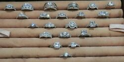 Group Of Twenty-one 21 Brand New Sterling Silver And Cz Rings Size 9 Wholesale