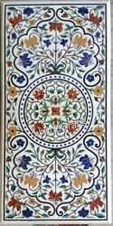 Marble Dining Table Top Semi Precious Stone Inlaid Lawn Table With Antique Work