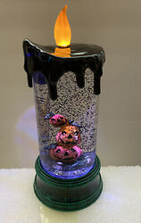 """Halloween Water Snow Globe Swirling Lighted Sh2 Pumpkin Stack 9"""" Candle"""