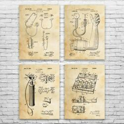 Doctos Office Patent Posters Set Of 4 Nurse Gift Stethoscope Decor Surgeon Gift
