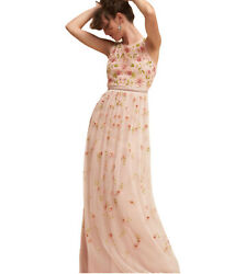 Nwt 380 Bhldn Adrianna Papell 0 Xs Melody Pink Blush Beaded Mob Mog Formal