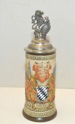 Germany Bavaria Beer Stein Limited Edition By Armin Bay 252/3000 With Lion Lid
