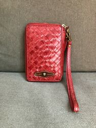 ELLIOTT LUCCA Women#x27;s Red Wristlet Leather Woven Zip Around Wallet Phone Org $19.99