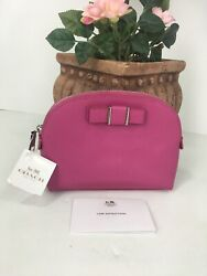 New Coach Cosmetic Bag Darcy Pink Leather Structured Bow Dome ZIP F52630 M6 $69.99