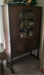 Antique Walnut Dining Room Set Table Buffet China 5 Chairs
