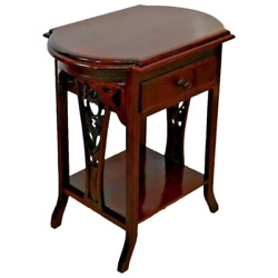 Victorian Library Table Hand Carved Side Aprons Drawer Bookshelf Solid Mahogany
