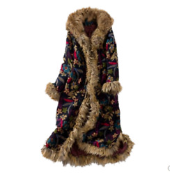 Womenand039s Floral Bohemian Faux Fur Parka Thicken Hooded Coat Cotton-padded Jacket