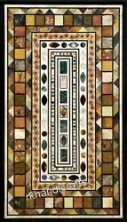 Marble Center Table Top Multi Color Gemstone Inlaid Dinning Table Unique Design