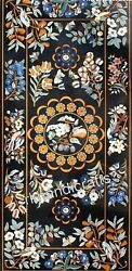 Marble Dining Table Top Floral Design Lawn Table With Semi Precious Stone Inlaid