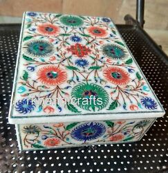 7 X 5 Inches Marble Brooch Box Colorful Stone Work Jewelry Box For Birthday Gift