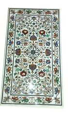 Marble Lawn Table Top With Inlay Work Coffee Table Multi Color Gemstone Inlaid
