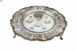 Fine Italy 925 Sterling Silver Handmade Chased Floral Ornate Feet Seder Plate